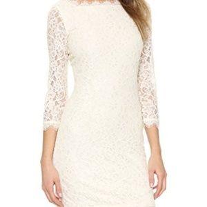 Diane Von Furstenberg Zarita Lace Dress Ivory